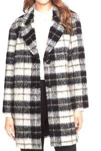 Kate Spade Woodlands Plaid Wool Jacket Black White